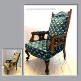 Klassieke fauteuil met velours stof en wespen patroon
