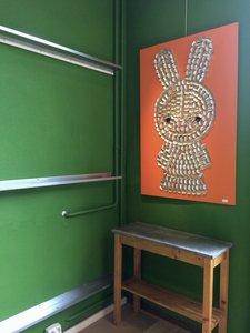 3D Wanddecoratie konijntje met hergebruikt aluminium